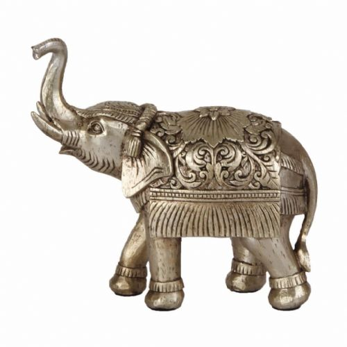 Bronze Finish Elephant Figurine With Trunk Up For Prosperity Feng Shui Home Decor